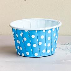 Форма бумажная одноразовая для маффинов 50/40 голубая/белый горох