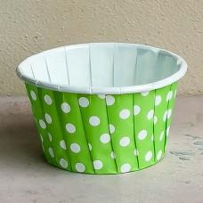Форма бумажная одноразовая для маффинов 50/40 зелёная/белый горох
