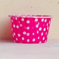 Форма бумажная одноразовая для маффинов 50/40 розовая/белый горох