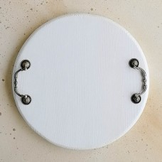 Поднос деревянный с ручками белый круглый