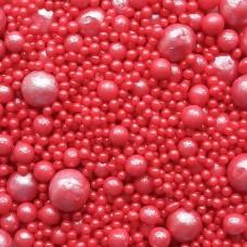 Драже рисовое (жемчуг), красный перламутр, 500 гр.