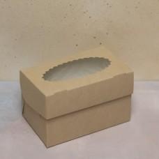 Упаковка ECO MUF  2 с окном под 2 капкейка
