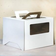 Короб для торта с окном и ручками 240*240*200