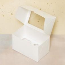 Короб под 2 капкейка с окном, белый