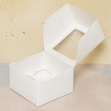 Короб под 4 капкейка с окном, белый