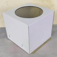 Короб для торта с окном белый 400*400*350 мм.