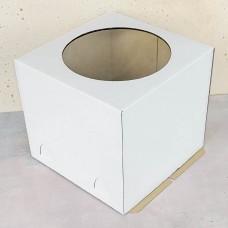 Короб для торта с окном белый 240*240*220 мм
