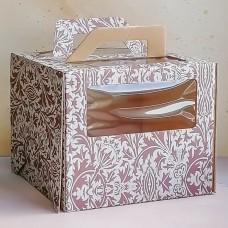 Короб для торта с окном и ручками 240*240*200 шоколадный орнамент