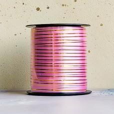 Лента декоративная для перевязки коробов розовая с полосой
