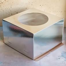 Короб для торта хром-эрзац с окном 280*280*180 мм., серебро