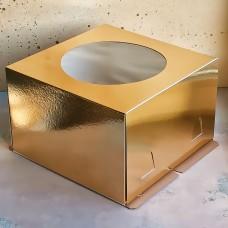 Короб для торта хром-эрзац с окном 300*300*190 мм., золото