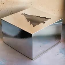"""Короб для торта хром-эрзац с окном """"Новогодняя ель"""" 300*300*190 мм., серебро"""