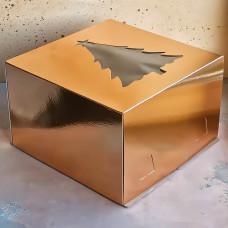 """Короб для торта хром-эрзац с окном """"Новогодняя ель"""" 300*300*190 мм., золото"""