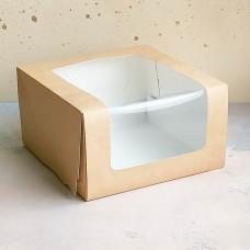 Короб для торта с окном 180*180*100 мм. крафт