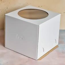 Короб для торта с окном белый 240*240*220 мм.
