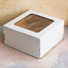 Короб для торта с окном белый 280*280*140 мм.