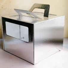 Короб для торта с окном и ручками 240*240*200 мм. серебро