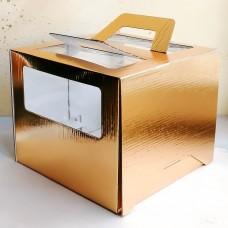 Короб для торта с окном и ручками 240*240*200 мм. золото
