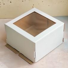 Короб для торта с окном 220*220*130 мм.