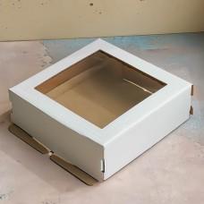 Короб для торта с окном 220*220*70 мм.