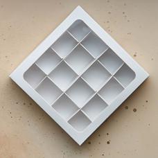 Коробка для 16 конфет, 180*180*30 мм.