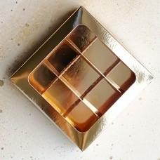 Коробка для 9 конфет, 135*135*30 мм. золото