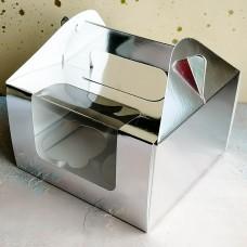 Короб под 4 капкейка с ручками, серебро
