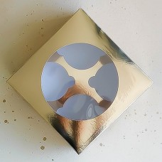 Короб под 4 капкейка, золото