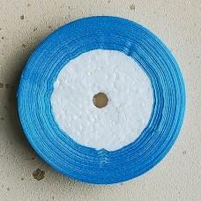Лента атласная широкая голубая, 30 м.