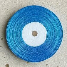 Лента атласная узкая голубая, 30 м.