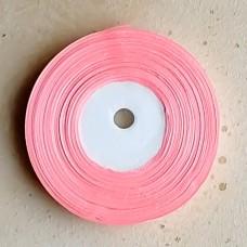Лента атласная узкая розовая, 30 м.